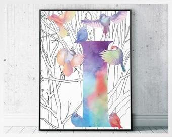 Letter I design - birds printable wall art design - monogram I art print - initial I alphabet design - letter birds wall art