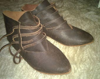Medieval leather shoes, viking shoes