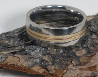 Maple and Copper Stainless Steel bent wood ring