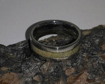 Ring Caribou Antler Stainless Steel, Stainless Steel Ring, Custom Ring, Wedding Band, Natural Jewelry