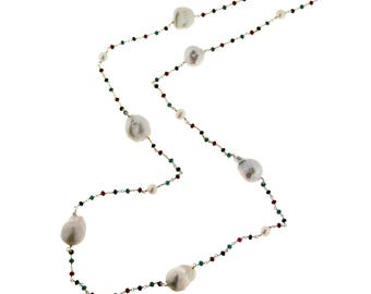 Long necklace with freshwater pearls and gemstone jewelry 925 silver-colored Long woman necklace with 925 silver pearl river and