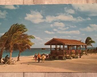 Vintage postcard, postcard,  bahama sound beach exuma postcard, island of exuma postcard,