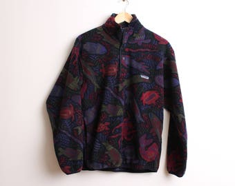 Vintage Retro Patagonia Synchilla Patterned Aztec Fleece Jumper Size Small