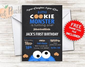 Cookie Monster Birthday Invite 5x7 Digital Personalized Cookie Monster Invitation First Birthday Invite