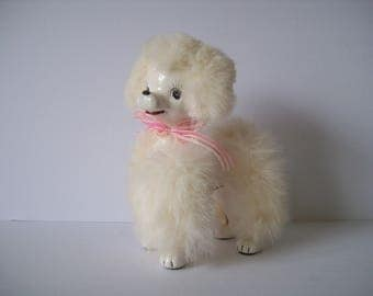 Vintage Ceramic Faux Fur White Poodle Japan Napco Originals Gift Craft Mid Century Poodle Figurine