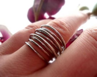 Ring, stainless steel finger ring, spiral, wrapped, silver