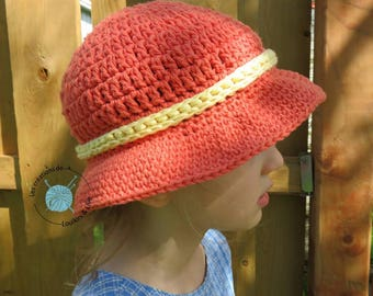 ETSYFETEQUEBEC17 cotton Sun hat. Optional hole for the quilt. Summer hat. Beach hat. Baby, girl, child, adult hat.