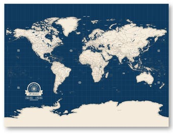 World travel map personalized map of world map canvas travel pinboard world map pinboard map push pin wall map personalized world push pin travel map on gumiabroncs Gallery