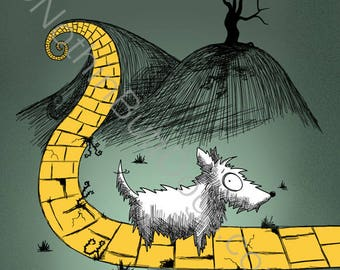 Gothic Cairn Terrier Yellow Brick Road Matted Print