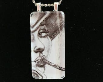 Glass Necklace Mixed Media Necklace Glass Pendant Necklace with 18 inch silver chain women's girls jewelry necklace