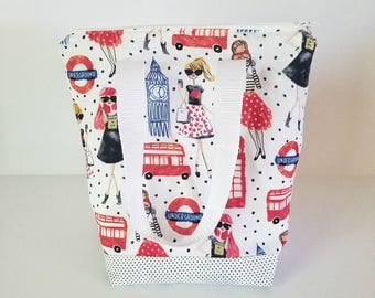 Insulated lunch bag, waterproof lunch bag, adult lunch bag, lunch tote, London bag, zipper lunch bag, reusable bag, woman's lunch bag