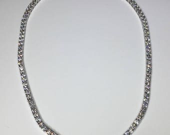 Estate 18K White Gold 16.65 CTW Diamond Tennis Necklace 36.5 Grams