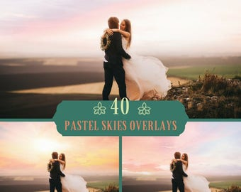 40 Pastel sky Overlays, Romantic Sky, sky overlay, Photoshop overlay, Dreamy sky, Realistic sky, Wedding, Beach Sky, Skies, Digital backdrop