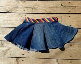 Flare jean skirt, skirt, jean, upcycled jean, summer skirt, cute skirt, baby girl skirt, flare