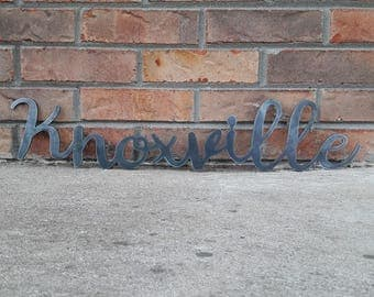 Metal Knoxville Sign- Custom Metal Sign, Cursive Words