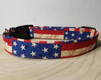 "American Flag Dog Collar /  Boy Dog Collar / Navy Dog Collar / Freedom / Red  White & Blue / USA Stars / 4th of July "" The Washington "" """