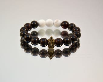 Natural amber bracelet with artificial coral