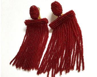 Tassel earrings, Oscar de la Renta tassel earrings, beaded tassel earrings, garnet long beaded waterfall tassel earrings, red earrings