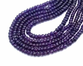 Top quality AMETHYST Faceted rondelle beads ,  4.5 mm to 5.5 mm , 13 inch strand approx