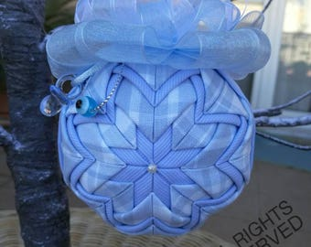 Keepsake quilted newborn boy ornament, baby boy quilted ball, baby shower gift, christening gift, boy's nursery decor, baby birthday gift