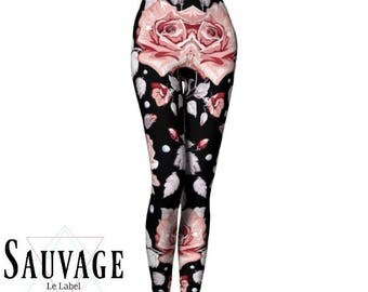 Floral on Black funky Leggings • yoga class and sunday brunch approved • handmade in Montreal with ECO Fabric - XS to XL