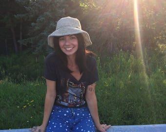 Hemp Sun Hat with Floppy brim, Womens Boater Bucket Hat, Nautical Summer Hat