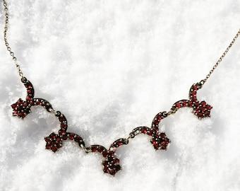 Vintage Bohemian Garnet and 900 Silver Necklace