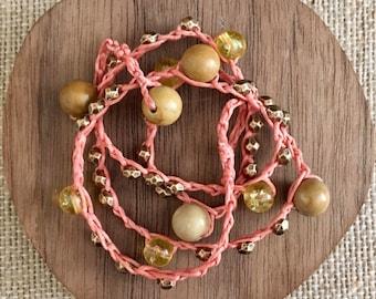 citrine & jasper crochet necklace