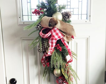 Gold Oranment Swag, Winter Swag, Christmas Swag Wreath, Door Wreath, Door Swag, Floral Wreath, Rustic Holiday Swag, White Holiday Decor