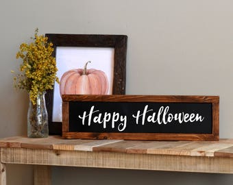 happy halloween sign halloween mantel decor halloween foyer decor halloween welcome sign - Halloween Mantle