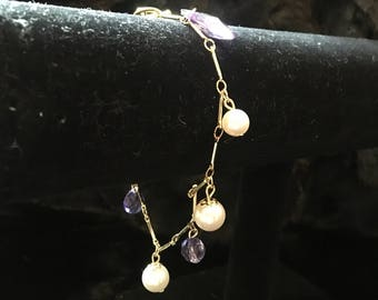 Simple Gold and Purple Bracelet