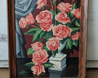 1980s Paint By Numbers - Roses in Urn Still Life