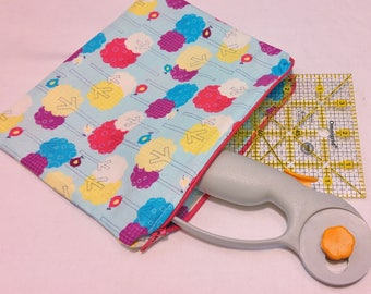 Medium Light Blue Zipper Pouch with Birdies in a Tree Motif; cosmetic bag; zipper clutch; makeup bag; gadget case; gift for her; girls pouch