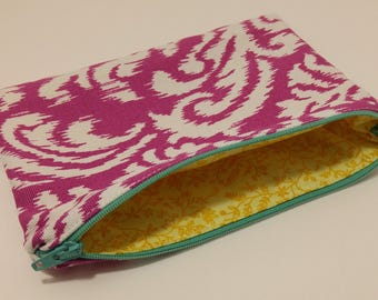 Medium Purple Canvas Zipper Pouch with Leaf/Floral Motif; cosmetic bag; zipper clutch; makeup bag; gadget case; gift for her; girls pouch