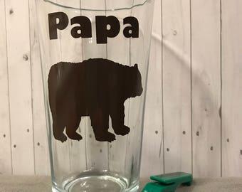 papa bear, papa bear glass, Fathers day gift, fathers day glass, gift for him, birthday for him