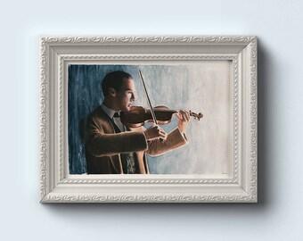 Sherlock Holmes Violin Watercolour Art Print