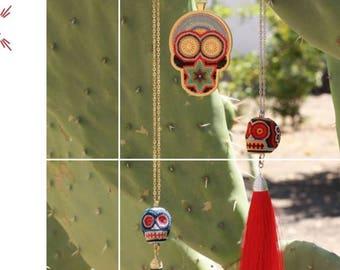 Skull Pendant, Skull Jewelry , Skull Necklace,  Mexican Wrestler Mask, Mexican Necklace, handmade Jewelry, Skull Art , Tassel Necklace