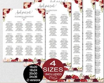 Wedding Seating Chart Template, Floral Burgundy Peonies Wedding Seating Chart Printable - DIY Editable PDF-DOWNLOAD Instantly | VRD137NWK
