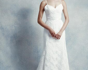 Heize / Sweetheart neckline wedding dress with lace overlay, beaded shoulder straps & court length train