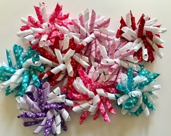 korker hair bows - girls pigtail bows - curly bows - spiral pigtail bows - toddler korker clips - girls hair accessory