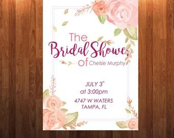Party Bridal Shower Invitation | Watercolor, Flower Printable Invitation