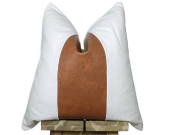 Faux Leather and Linen Pillow Cover | Bourbon & Off White
