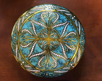 Daher Turquoise Pattern Tin/Canister