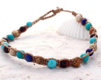 Blue semi-precious gemstone macrame anklet, beach wear for ladies, teenagers ankle bracelet,