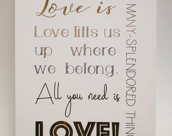 All you need is love Moulin Rouge song lyric art print