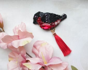 Brooch-bullfinch bird jewelry handmade, Brooch-pendant. Brooch-transformer. Handmade brooch, embroidery Brooch Beaded. Pin. Gift for her