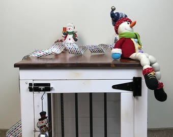 Snowman (#1 on Etsy) Single Dog Kennel/ Dog Kennel/Custom Kennel/Handmade Kennel/Dog Bed/Dog Crate Furniture/Pet Furniture/Handcrafted Wood