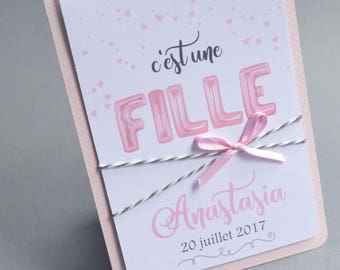 Pink announcements for birth or christening girl - with handwriting letters balloons