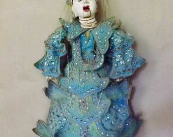 Antique Ornate Asian Hand Carved Burmese Marionette String Puppet Doll
