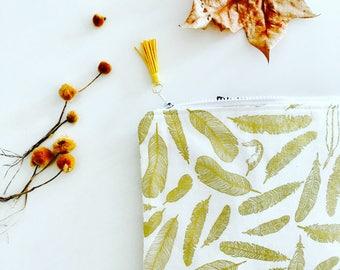 Golden Feather Clutch Large – Ipad Bag -  Makeup Bag – Evening Bag –Ipad Case - Nappy Bag